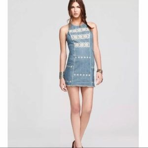 Free people Denin tribal embroidered dress Sm